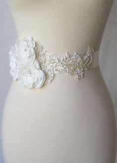 Ivory Bridal Sash Wedding Belt with Handmade by TheRedMagnolia, $145.00