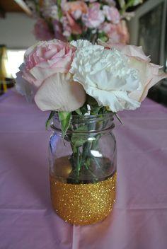 My Pink and gold baby shower.. DIY glitter mason jar.. Vintage flowers
