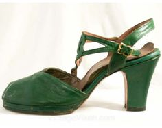 Elegant 1940s Forest Green Peep Toes with by vintagevixen on Etsy, $10.00