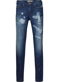 f9484d76a2 Jeans blå 132622 La Bohemienne - Aged Turquoise Repairs Mid Rise Skinny Fit
