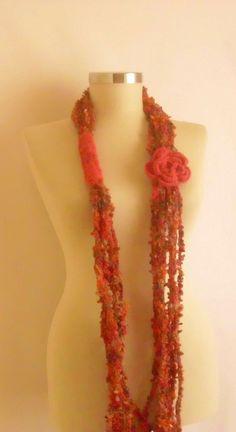 CHRISTMAS++Crochet+Scarf++Knit+FREEFORM++mohair+by+modelknitting,+$24.00