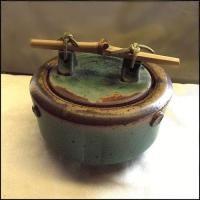 North Carolina Pottery Brown Green Oriental Stoneware Lidded Bowl Pot