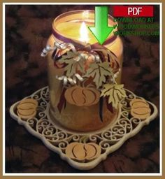 This autumn candle tray is made from a single piece of wood and by simply tilting the table of your scroll saw a few degrees the center of the tray will drop down and lock into place. The pattern includes full instructions and optional staining instructions if you want to add a bit of color. Also included with the pattern are 2 inch pumpkin charms which you can use to adorn your candle or as ornaments on a wreath or garland, refrigerator magnets, or package ties.