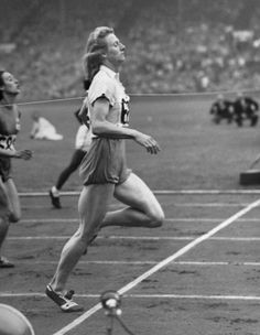 Not originally published in LIFE. The Netherlands' Fanny Blankers-Koen (foreground), who won four golds in 1948, competes in a sprint heat.