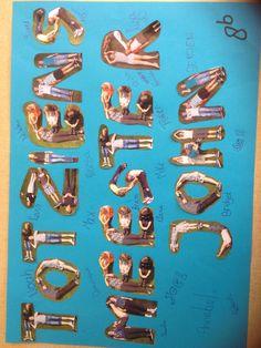 Afscheid meester Kinderen in de vorm van letters op de foto gezet. Leuk om te doen en het resultaat mag er zijn!