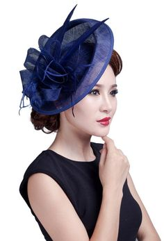 EOZY Ladies Large Feather Fascinators Sinamay Hats Vintage Hair Accessories Light Royal Blue ** You can get more details by clicking on the image.