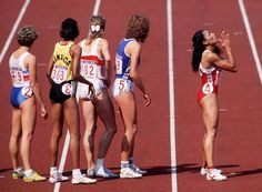Flo Jo praying for a miracle while waiting to run the anchor leg of the 4X400 metres relay during the 1988 Olympic Games at Seoul, Korea. She missed out on a fourth gold medal by 34 hundredths of a second as the Soviet team won in world record time.