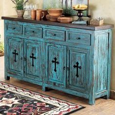 Western Turquoise Santa Fe Cross Buffet from Lone Star Western Decor | Stylish Western Home Decorating