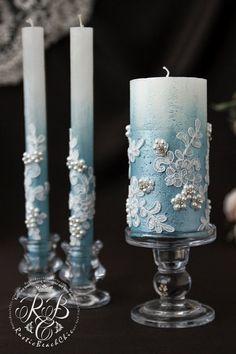 Rustic Wedding Unity Candle Blue Wedding Ceremony, Personalized Pillar Candle, Wedding Candle Unity Ceremony Airy Blue W. Wedding Ceremony Ideas, Unity Ceremony, Wedding Events, Blue Candles, Pillar Candles, Blue White Weddings, Blue Wedding, Unity Candle Alternatives, Wedding Pillars
