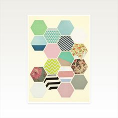 Geometric Honeycomb Art, Modern Wall Art - Florals and Stripes A4 Print £12.00