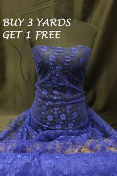 Royal Blue Budget Lace Flowers Net Stretch Crafts Dress-making Fabric Material in Crafts, Fabric | eBay