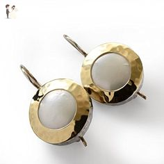 Vintage style Bridal earrings, Round Gold Pearl Earrings, White wedding earrings, Sterling silver & 9K yellow gold, everyday earrings - Wedding earings (*Amazon Partner-Link)