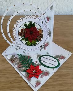 Christmas Cards, Christmas Ornaments, Marianne Design, Poinsettia, Homemade Cards, Card Ideas, Birthday Cards, Gift Wrapping, Table Decorations