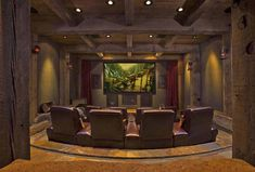 From rustic leather to modern fabrics, discover the top 70 best home theater seating ideas. Explore movie room furniture layouts and designs. Best Home Theater, At Home Movie Theater, Home Theater Rooms, Home Theater Design, Home Theater Seating, Cinema Room, Montana, Media Room Design, Timber House