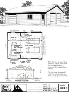 Two Car Garage With Rear Bay / Shop Plan 1200-5 30' x 40' by Behm Design