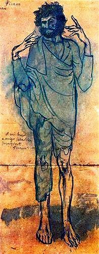 """The Fool"".....Artist: Pablo Picasso Completion Date: 1904 Style: Expressionism Period: Rose Period Genre: portrait Technique: watercolor Material: paper Dimensions: 85 x 35 cm."