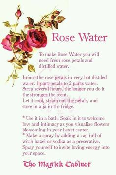 How to make Rose Water Witch Potion, Witch Spell, Pagan Witch, Witches, Wiccan Spells, How To Make Potions, Love Potion Recipe, Rose Petal Uses, Potions Recipes