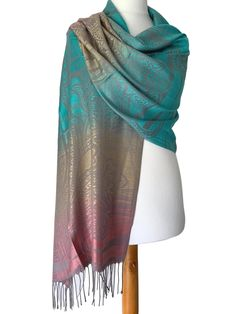 Large green, pink, grey and beige patterned pashmina wrap / oversized scarf with tassel trim to the ends. Excellent quality fabric it drapes and Prom Accessories, Fashion Accessories, Grey And Beige, Pink Grey, Pashmina Wrap, Prom Outfits, Oversized Scarf, Womens Scarves, Different Styles