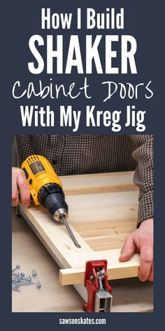 I just ed this How to Make Shaker Cabinet Doors with my Kreg Jig tutorial and I built my own cabinet doors! It was so easy! I was going to have my kitchen and bathroom doors replaced but it was so expensive. Now I can DIY them on the cheap! Woodworking Techniques, Easy Woodworking Projects, Popular Woodworking, Fine Woodworking, Diy Wood Projects, Woodworking Quotes, Kreg Jig Projects, Woodworking Articles, Woodworking Magazine