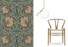 Clashing different style eras in interior design. William Morris wallpaper from the 19th century, a Wegner wishbone chair with midcentury design and a modern Flos lamp.