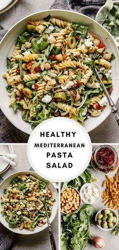 Healthy Pasta Salad, Healthy Pastas, Pasta Salad Recipes, Healthy Salad Recipes, Mediterranean Pasta Salads, Mediterranean Diet Recipes, Pasta Lunch, Winter Salad Recipes, Le Diner