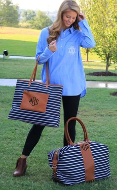Travel Must Have! Monogrammed Striped Tote & Weekender. Shop the set now- http://marleylilly.com/product/monogrammed-striped-weekender/