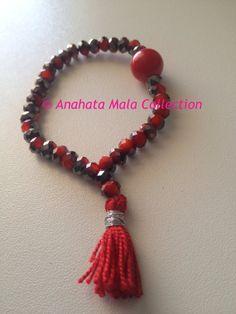 Red Crystal Mala Bracelet by AnahataMalas on Etsy, €6.00