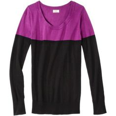 Mossimo Supply Co. Juniors Color Block Long Sleeve Scoop Neck Sweater - Assorted Colors