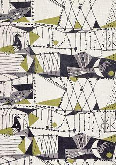 Textile Design by John Drummond. Mid Century Modern.: