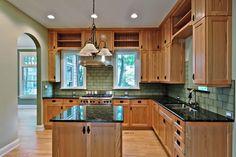 butterfly green granite, green walls, light wood