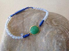 Moonstone beaded macrame bracelet by keepcalmandbeadon on Etsy, Macrame Bracelets, Turquoise Bracelet, Gemstones, Trending Outfits, Unique Jewelry, Handmade Gifts, Vintage, Etsy, Kid Craft Gifts