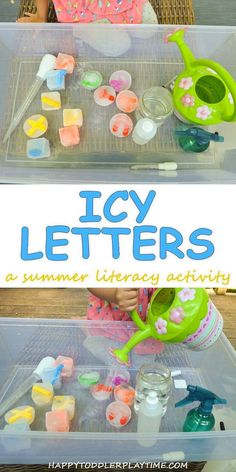 Being A Mom Discover Icy Letters: A Literacy Sensory Bin - HAPPY TODDLER PLAYTIME Icy Letters a summer literacy activity for toddlers and preschoolers as they work on learning the letters of the alphabet. Letter Activities, Toddler Learning Activities, Summer Activities For Kids, Craft Activities, Preschool Crafts, Kids Learning, Summer Crafts For Toddlers, Family Activities, Nursery Activities Eyfs