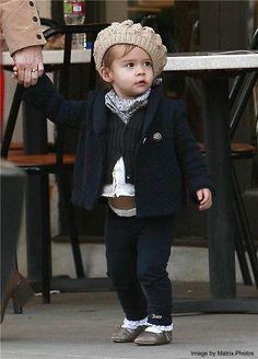 #children #fashion #peacoat #beret