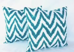"""Teal Throw Pillow Covers 18"""" x 18"""" Aquarius Blue Chevron Decorative Pillows. Cushion Covers"""