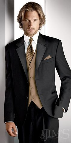 black and gold tux for wedding | After Six Troy Black Prom Tuxedo