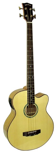 """Gold Tone ABG-4 Acoustic Bass Guitar (Natural). A unique addition for bass players, the ABG-4 is portable but still offers the common 32"""" scale. The solid spruce top provides a punchy but warm bass tone. This is the only acoustic bass available with a dual pickup system for on stage or recording use consisting of the piezo under the saddle as well as the condenser microphone located in the soundhole. Whether you are new to the bass guitar or are looking for a new sound to add to your…"""