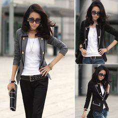 2013 nuevos de moda de otoño de la mujer manga larga franja peplum casual slim fit top chaqueta blazer