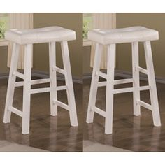 @Overstock.com - Montana 24-inch White Barstools (Set of 2) - Bring a little elegance into the kitchen with these comfortably upholstered 24-inch bar stools. Luxury doesnt have to be reserved for the living room