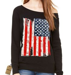Distressed American USA Flag Slouchy Off Shoulder Oversized Sweatshirt