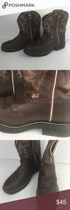 JUSTIN Western boots Women's Gypsy brown leather 7 Justin Western pull on boots Gypsy collection. Brown Leather. Pink scrolling Embroidered stitching. Soft Toe Boots. Style #L9965. Women's size 7B.  Square toe. Normal light wear. Justin Boots Shoes Ankle Boots & Booties