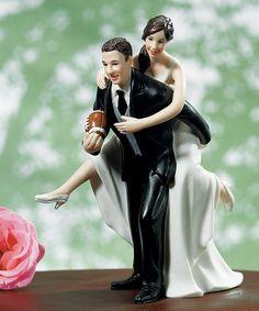 """Bliss Wedding Supplies - """"Football Couple"""" Wedding Cake Topper, $44.98 (http://www.blissweddingsupplies.com/football-couple-wedding-cake-topper/)"""