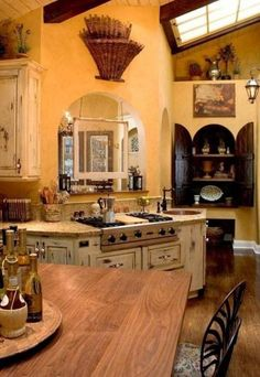 Tuscan kitchen design immediately conjures images of Italy and sunlight and warmth. In fact these kinds of images are just what you need to think of when coming up with the perfect Tuscan kitchen design. Tuscany a region in north… Continue Reading → Kitchen Ideas Tuscan Style, Tuscan Kitchen Design, Tuscan Style Homes, Country Kitchen Designs, Tuscan House, Farmhouse Style Kitchen, Rustic Kitchen, Kitchen Interior, Country House Design