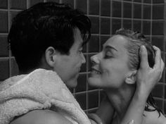 Hiroshima mon amour (Hiroshima My Love),a 1959 drama film directed by French film director Alain Resnais. Emmanuelle Riva as Elle and  Eiji Okada as Lui