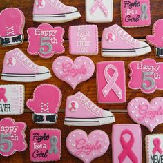 Breast Cancer awareness decorated cookies by TheTreatsbyTrishShop Breast Cancer Cake, Breast Cancer Support, Royal Icing Cookies, Sugar Cookies, Fancy Cookies, Cookie Icing, Cookie Dough, Biscuits, Pink Out