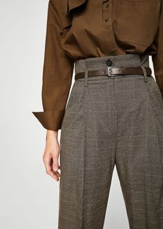 Check pleated trousers - Women - Outfits for Work - Business Outfits for Work Mode Outfits, Fashion Outfits, Fashion Fashion, Rock Fashion, Mango Fashion, Lolita Fashion, Fashion Clothes, Fashion Boots, Online Fashion