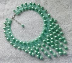 Free pattern for beaded necklace Fresh Mint U need: seed beads 11/0 pearls 6 or 8 mm