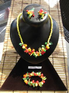 Vintage Fruit Salad Beaded y. Celluloid set Necklace + Earrings + Bracelet H.K.