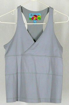 ZEN CHI Gray Yoga Top Sz L Racer Back Tank Shelf Bra Workout #ZenChi #ShirtsTops