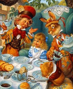 'Take some more tea' the March Hare said to Alice, very earnestly.This attractive and detailed picture of the Hatter's MAD Tea Party from Alice in Wonderland has the characters by the table. Lewis Carroll, Mad Tea Parties, Inspiration Artistique, Chesire Cat, Fairytale Art, Adventures In Wonderland, Wonderland Alice, Mad Hatter Tea, Fairytail