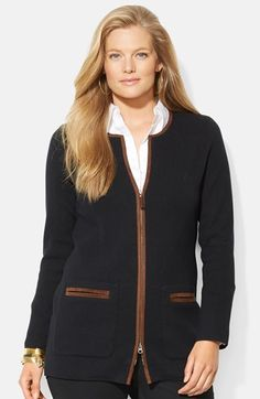Lauren Ralph Lauren Faux Suede Trim Front Zip Sweater (Plus Size) available at #Nordstrom